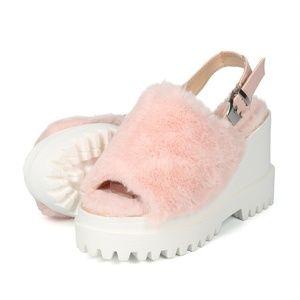 Wild Diva Nude Peep Toe Faux Fur Mule Sandals